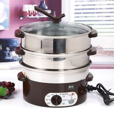 Electric steamer stainless steel multifunctional super large capacity electric food steamer electric hot pot 28cm