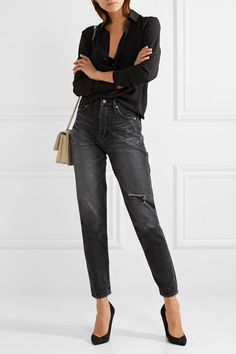 Saint Laurent | Embroidered distressed mid-rise slim-leg jeans | NET-A-PORTER.COM