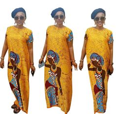New Vintage Yellow Loose Long Print Dress Short Sleeve O Neck Women Maxi Dress #Unbranded #EmpireWaistMaxi #Casual