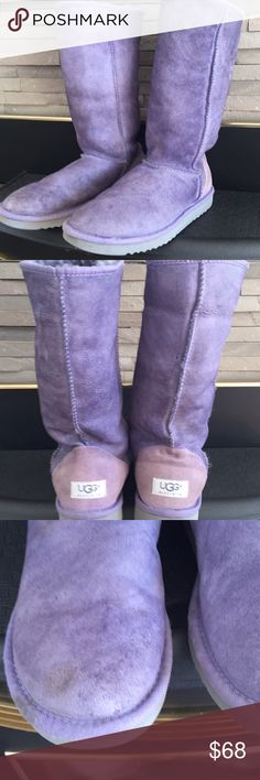 Great tall purple UGGs. Fun, warm pale purple UGGs.  Fur is warm and fluffy, some general wear to boots, some spotting on right toe, as shown. UGG Shoes Winter & Rain Boots