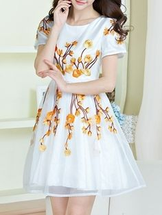 Appealing Round Neck Embroidery Skater-dress