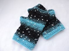 Fingerless Mitts Wrist Warmers Adults Crochet Black and Turquoise £9.50