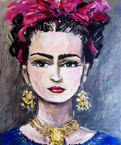 """Frida with Ribbon"" by Maren Devine   $250   20""w x 24""h   Original Art   http://www.vangoart.co/buy/art/frida-with-ribbon @VangoArt"