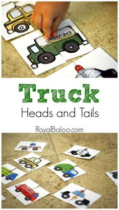 Truck Heads And Tails Cards Trucks And Transportation Themed Heads And Tails Cards Free Printable Toddler Learning, Preschool Learning, Toddler Activities, Activities For Kids, Preschool Transitions, Transportation Theme Preschool, Preschool Themes, Preschool Crafts, Little Blue Trucks