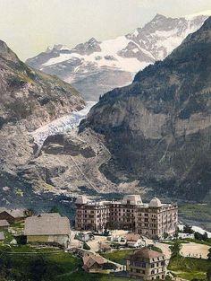 Grindelwald, Bear Hotel and glacier, Bernese Oberland, Switzerland, 1890 and 1900