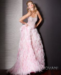 #Feather #BallGown #Jovani style 157817 #JovaniFashions #dress #beaded #embellished #pink Quinceañera