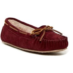 Minnetonka Cally Suede Moccasin with Faux Fur Trim Slippers C71qF4x