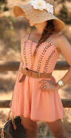 Love this peach dress, could see myself wearing it with some boots!