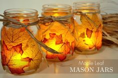 Bring the natural beauty of the season into your home decor with these lovely DIY autumn leaf mason jar candle holders!