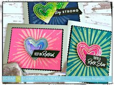 Fun good vibes cards created with Concord and 9th Geode stamp set, Picket Fence Good vibes stamp set and My Favorite thing Boss Babe set.