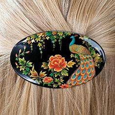 Hand-Painted Peacock Barrette