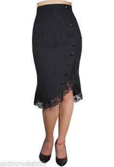 40s Retro Pencil Pin up Vintage Lace Black Skirt
