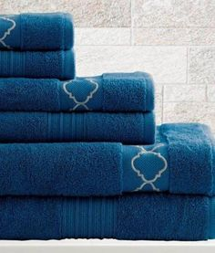 6 Piece Egyptian Cotton Towel Set Quatrefoil (Sapphire)