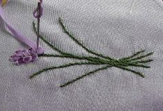 Silk Ribbon Embroidery making Lavender Flower.