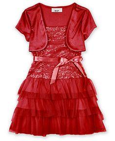 BCX Girls Dress, Little Girls Sequin Shrug Dress - Kids Dresses - Macy's