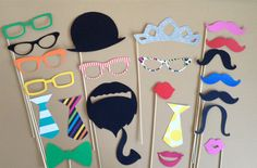 Photo Props Party Pack PHOTOBOOTH PROPS Wedding Photo Booth Props Set of 23 Party Decorations Party Supplies Mustache on a Stick on Etsy, $28.00