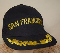 1ab53acac2d Vintage San Francisco Black Gold Leaf Trucker Hat Snapback Cap Retro  Hipster  Swingster  Trucker