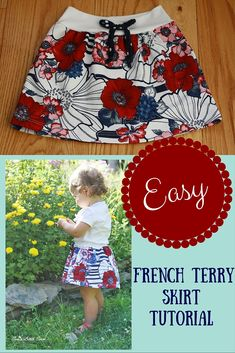 This week I made a cute little French terry skirt for Brynn and I'm going to show you how I made it. This is a super easy and quick sew and you don't even need a pattern! I actually don't dress Brynn in skirts very often…in fact this might be the first time she's ever worn a skirt, but I definitely need to dress her in …