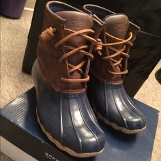 sperry boat boots size 3 kids  worn 3x Sperry Top-Sider Shoes Winter & Rain Boots