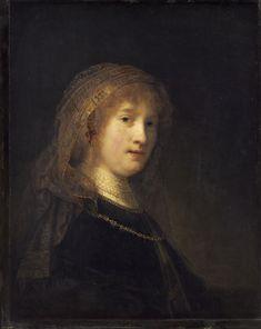 Рембрандт ван Рейн. Портрет Саскии  ван Эйленбург, жены художника. 1634-1638.                                        .
