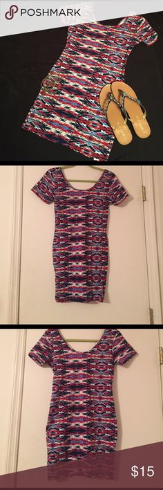 Bodycon Dress A super cute and soft bodycon red white and blue tribal print dress. Worn once. Dresses Mini