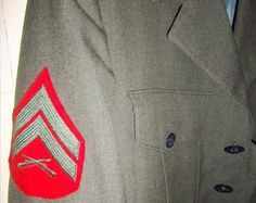"""Vintage Class A Corporals Uniform Jacket And Pins Including Conn. Waterbury Screw back Pin $85.00 