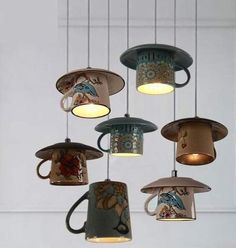 Lighting - Vintage ceramic Tea cup Pendant lights You are in the right place about DIY Lighting hanging Here we offer you the most beautiful pictures about the DIY Lighting creative you are look Diy Lampe, Diy Casa, Vintage Diy, Vintage Style, Vintage Globe, Vintage China, Vintage Lighting, Rustic Lighting, Interior Lighting