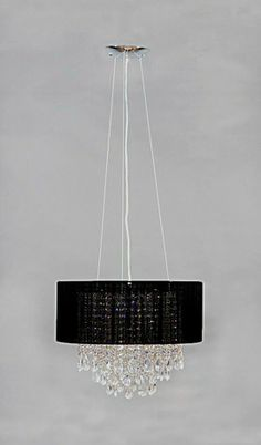Angelia Black Modern Art Deco Drum Chandelier 1 Light