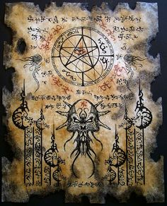 THE ELDER SIGN cthulhu larp Necronomicon Fragment occult by zarono, $10.00