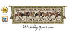 "$159.99 Bayeaux Wall Tapestry Wall Art 2265-WH of the horseback invasion in the Battle of Hastings, England by William, Duke of Normandy. The original is 230"" long and over 1000 years old. http://www.delectably-yours.com/Classics-Wall-Hangings-C152.aspx"