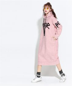 ddf3752d645d New Women Long Hoodie Dress Winter Spring Letters Sweatshirt Thick Cashmere  Thick Fleece Pullovers Loose Oversize Hoody Dress