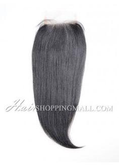 "#1 Lace Closure Indian Remy Hair 4X4"" Yaki [CI17]"