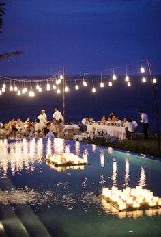 Wedding lighting - #floatinglights #overheadlights #poolsidewedding