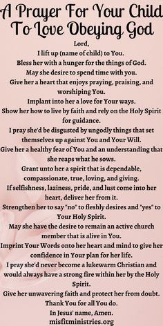 Prayer For Our Children, Childrens Prayer, Prayer For Parents, Prayer For You, Daily Prayer, Giving Quotes, Bible Encouragement, Prayer Verses, Prayer Board