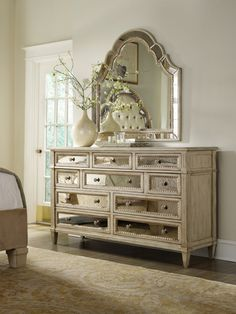 Beautiful dresser. I love the mirror drawers.  Hooker Furniture #HomeDecor #Melissapick