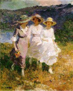 Marcher dans les collines (2), huile sur toile de Edward Henry Potthast (1879-1881, United States)