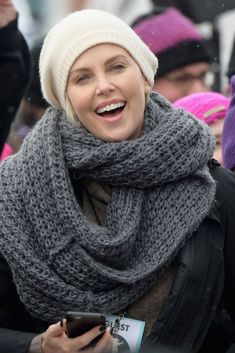 So Many Celebs Went Makeup-Free For The Women's March #refinery29  http://www.refinery29.com/2017/01/137444/womens-march-celebrities-no-makeup-photos#slide-1  Charlize Theron...