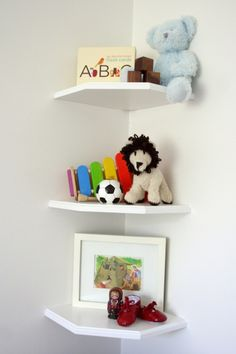 corner shelves with a little extra room