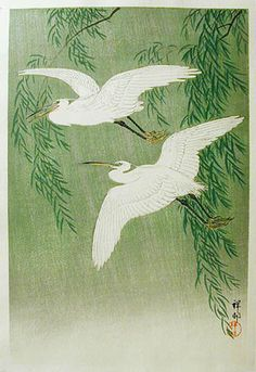 White Herons and Willow by Ohara Koson