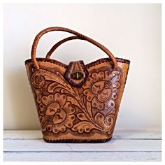 Vintage hand tooled brown leather purse / leather by MellaFina, $38.00