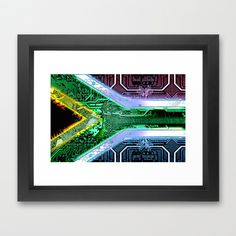 circuit board South Africa (Flag) Framed Art Print by seb mcnulty - $32.00
