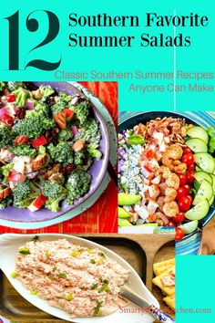 12 Classic Southern Summer Salads anyone can make! Beat the heat with these quick and easy summer salad recipes! Easy Summer Salads, Summer Salad Recipes, Easy Recipes For Beginners, Cooking For Beginners, Southern Side Dishes, Southern Recipes, Southern Tuna Salad Recipe, Crunchy Asian Salad, Frozen Cooked Shrimp