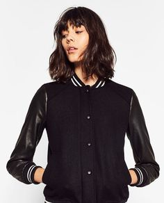 Image 3 of CONTRAST BOMBER JACKET from Zara
