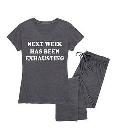 69fd53a07f Heather Charcoal  Next Week Has Been Exhausting  Pajama Set - Women