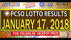 PCSO Lotto Results - January 17, 2018 | 6/55, 6/45, 4D, SWERTRES & EZ2 L... Lotto Results, January 2018, December 26, July 24, Youtube, Youtubers, Youtube Movies