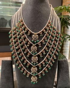 Beautiful Panch lada in gold studded with uncuts Rubies pearls and Emeralds . For full product details pls what's app at 13 September 2019 Indian Wedding Jewelry, Indian Jewelry, Bridal Jewelry, Pendant Jewelry, Gemstone Jewelry, Beaded Jewelry, Gold Pendant, Gold Jewelry, Trendy Jewelry