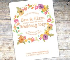 Autumn Colors Wedding Invitation  Floral by SixDaysCreations
