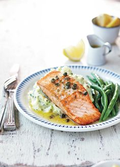 Lemon and Caper Salmon With Herbed Potato Mash recipe - Canadian Living Best Fish Recipes, Salmon Recipes, Lunch Recipes, Seafood Recipes, Chicken Recipes, Cooking Recipes, Favorite Recipes, Healthy Recipes, Cooking Fish