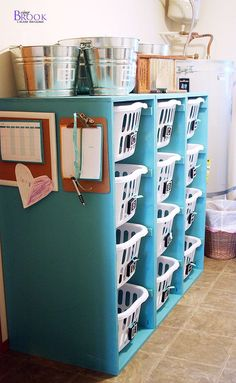 Laundry basket bookshelfs with building plans... each one is only one sheet of plywood.