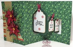 Frances Byrne using the Pop it Ups Tags Pivot Card and Merry & Bright Clear Stamps by Karen Burniston for Elizabeth Craft Designs. - Season's Greetings